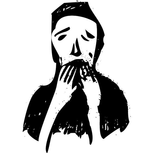 An illustration of a person with their hands covering their mouth, seemingly in horror.