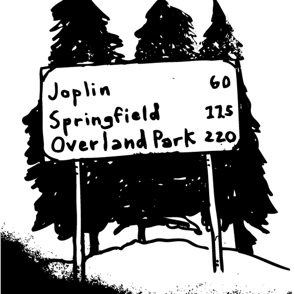 An illustration of a road sign on a hill with three pine trees behind it.