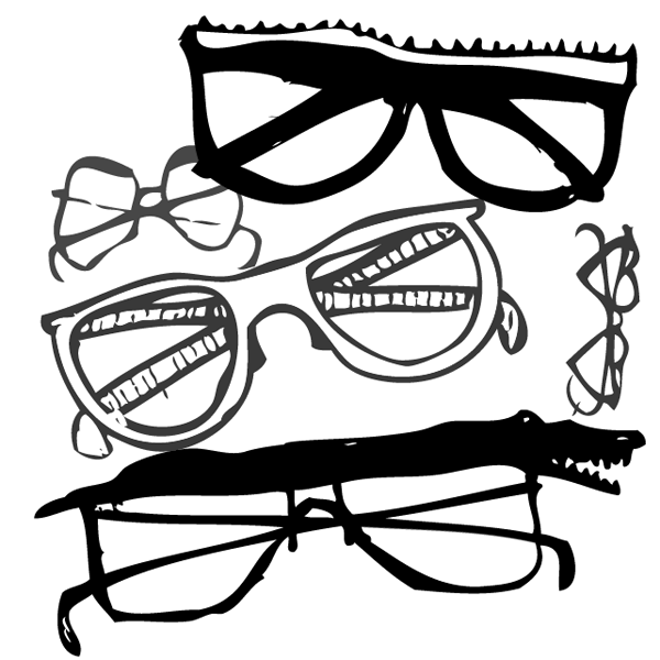A black and white illustration of five pairs of glasses.