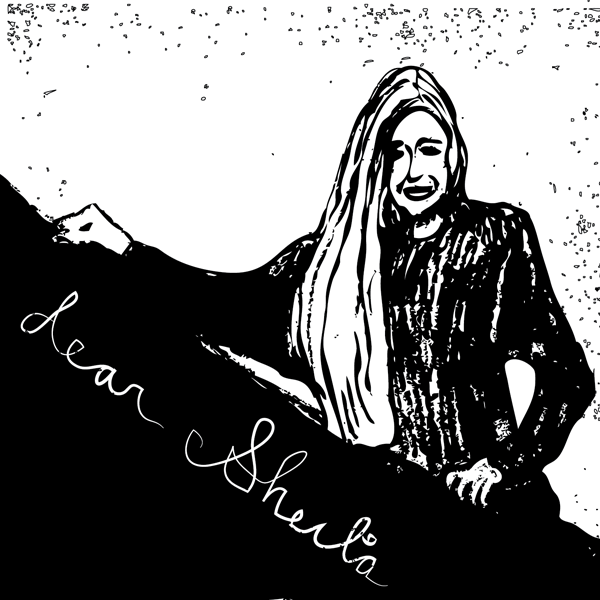 An illustration of a woman with long hair, smiling, holding up a giant sheet of paper with the text: Dear Sheila.