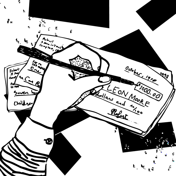 An illustration of a hand holding a pen, writing out a check addressed to Leon Moore.