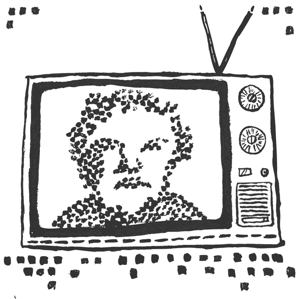 An illustration of an old TV with a pointillistic depiction of a man on it.
