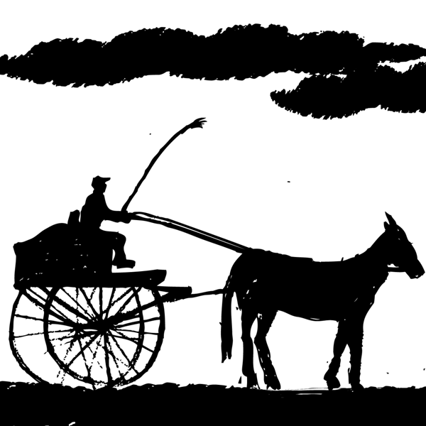 An illustration of a man driving a horse and buggy.