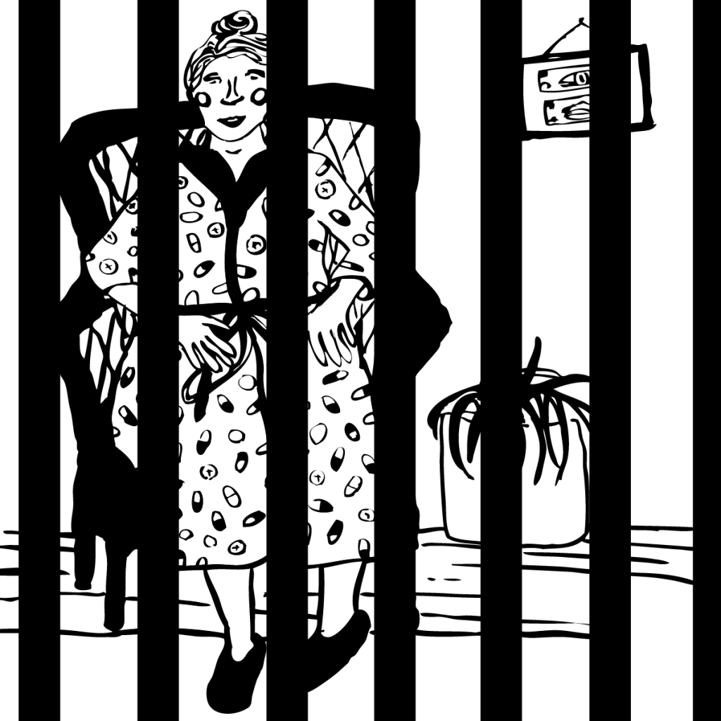 An illustration of a kindly looking old woman in a comfortable armchair, behind bars.