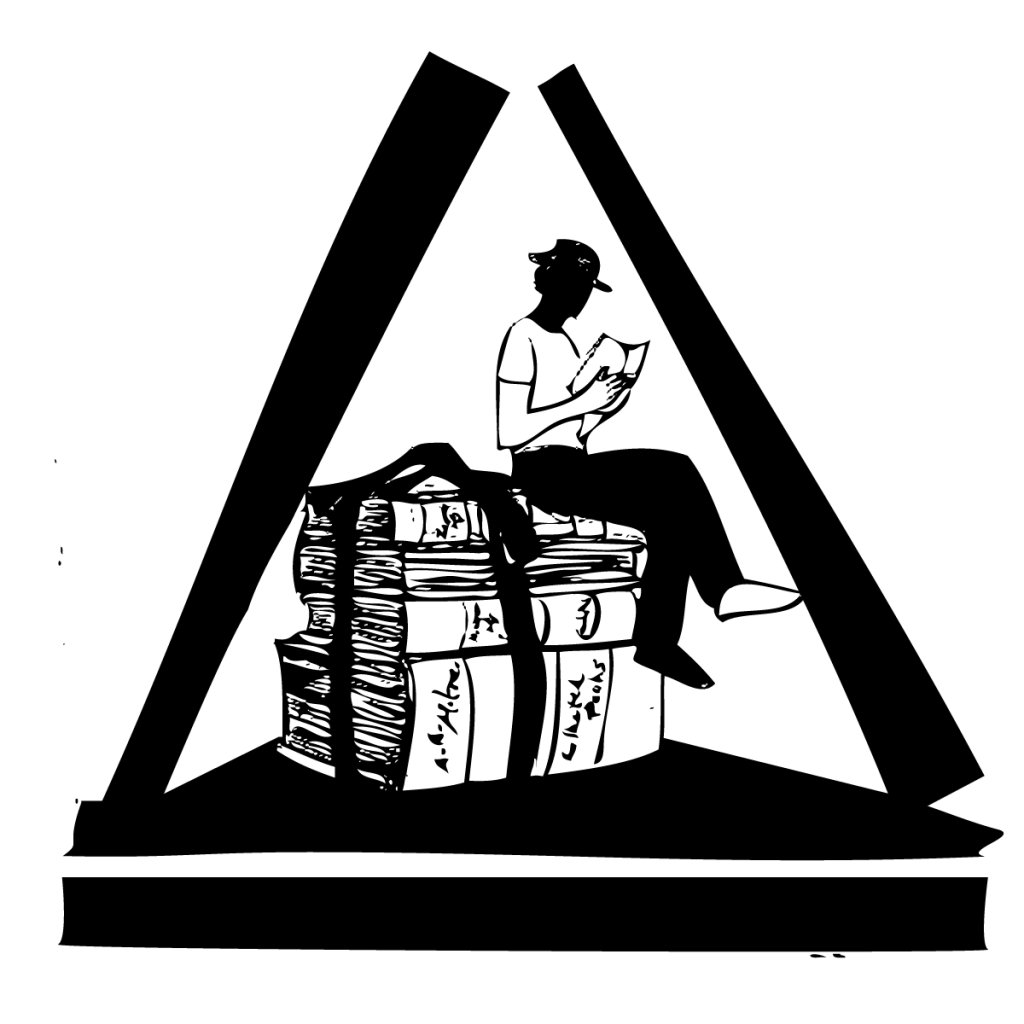 An illustration of a man inside of a triangle, perched atop a pile of oversized, tied-up books, reading a book, legs crossed.