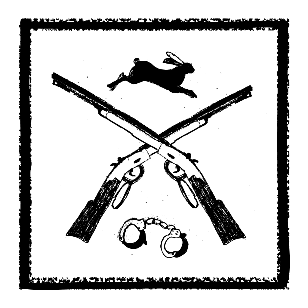An illustration of two crossed rifles, with a pair of handcuffs beneath the guns and a rabbit running above the guns.