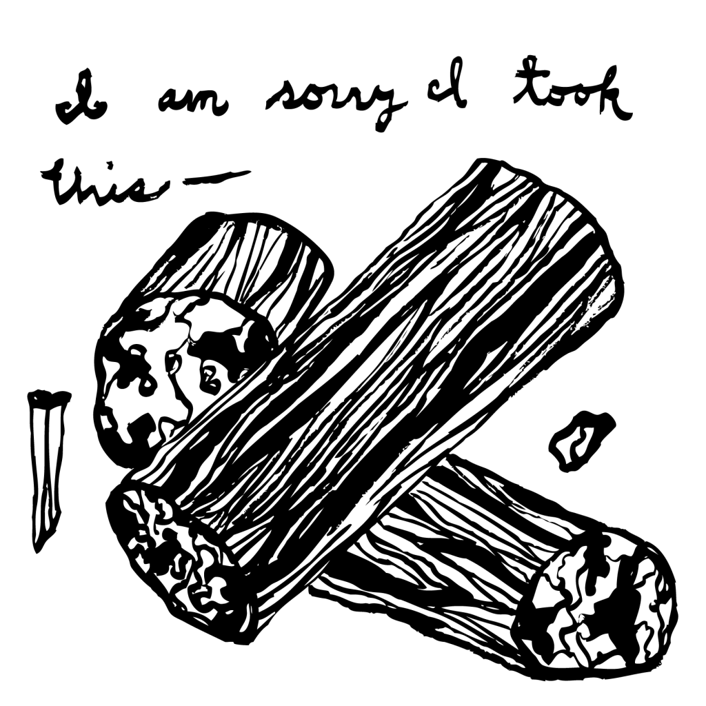 An illustration of a few pieces of petrified wood, with the text, in cursive: I am sorry I took this —.