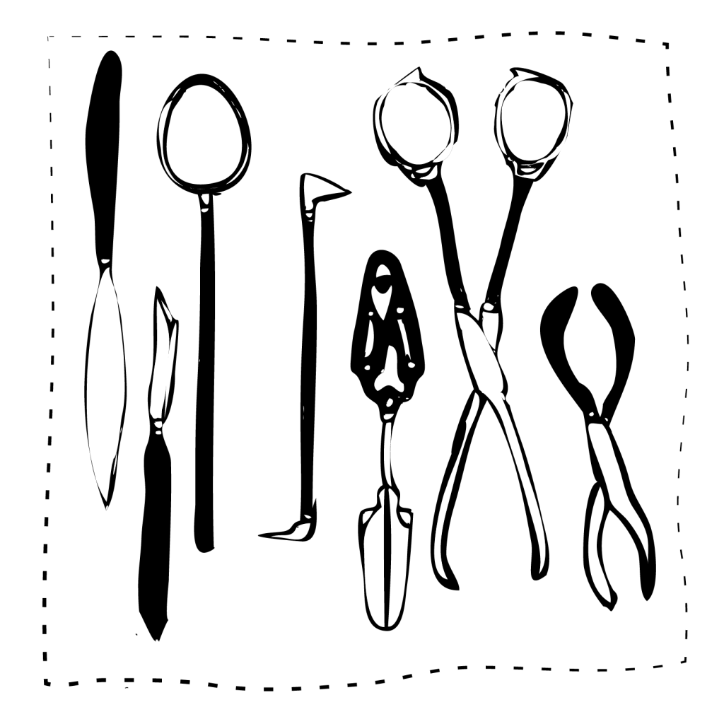 An illustration of a tray of various surgical and medical instruments.