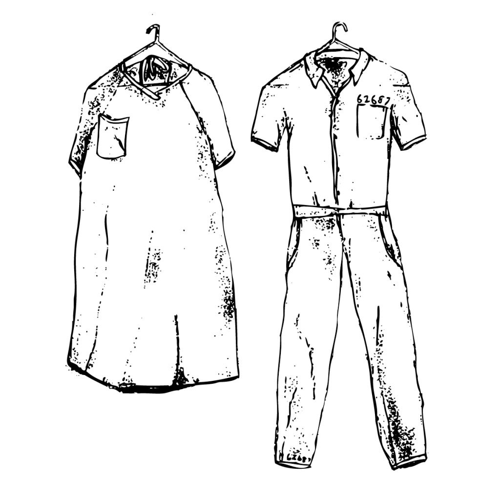 An illustration of a simple hospital gown with a breast pocket on a hanger, and a prison jumpsuit with a breast pocket on a hanger.