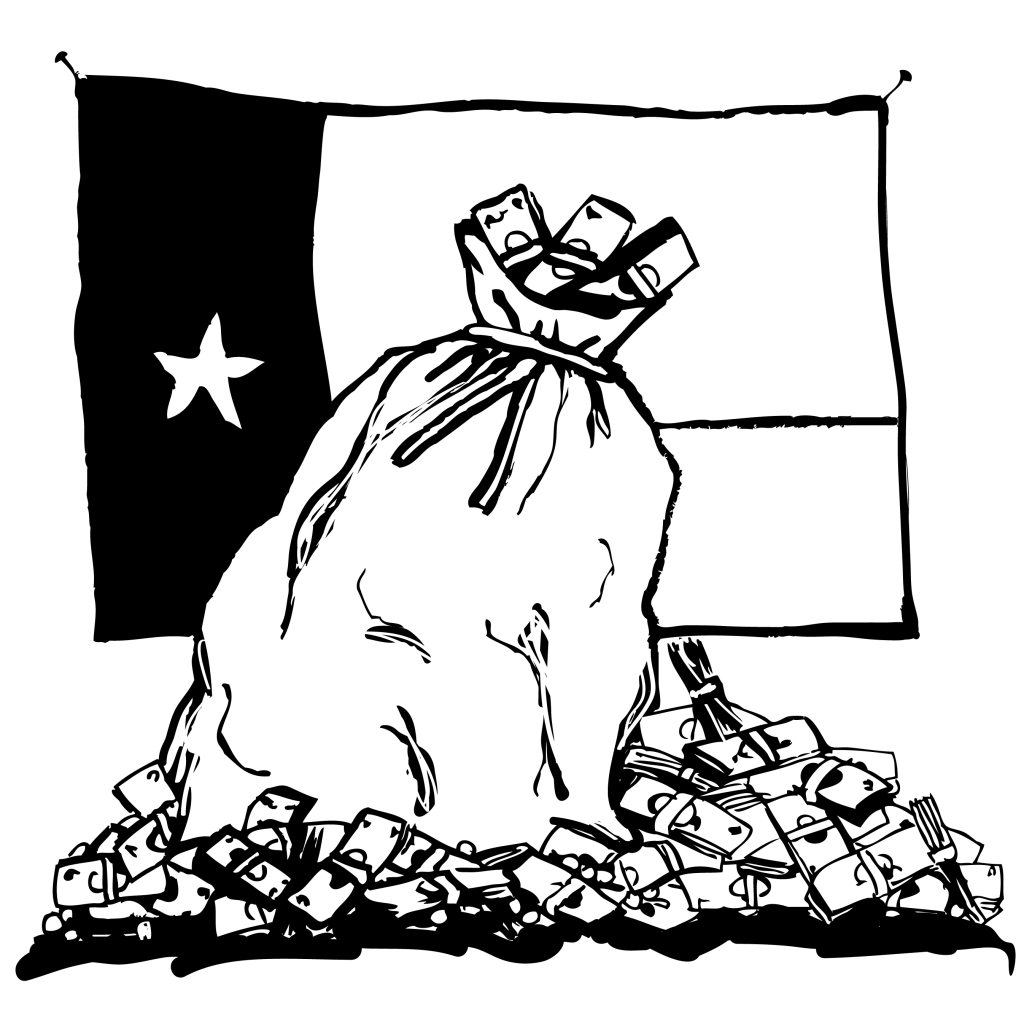 An illustration of a large sack of money, surrounded by piles of cash, in front of a Texas flag.