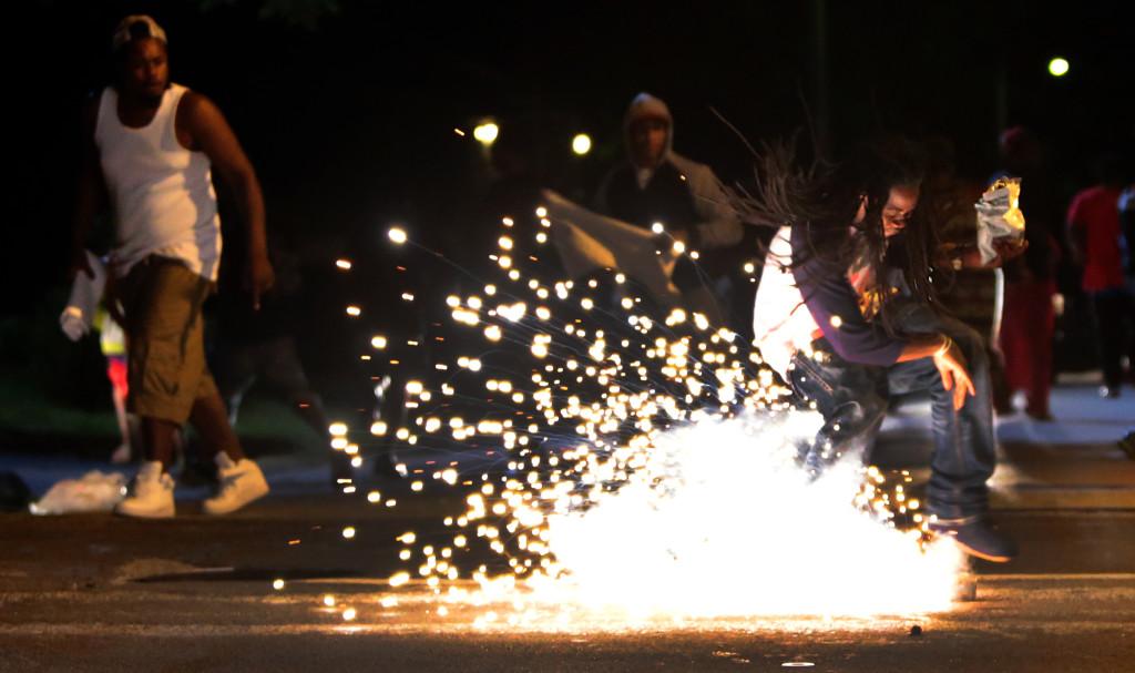 Tear gas shot at protestors