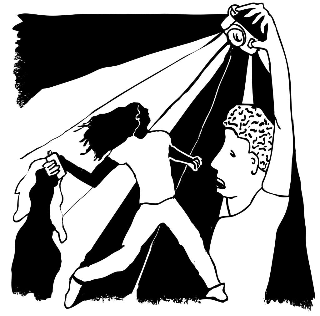 An illustration of a man throwing a tear gas canister, a photographer in front of him taking a picture.