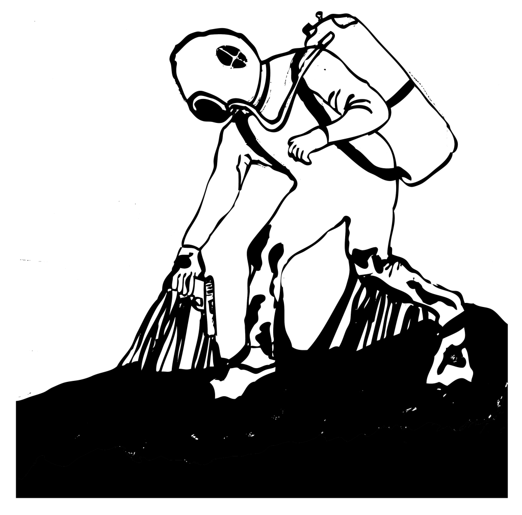 An illustration of a person in scuba gear with sticky tar clinging to their body.