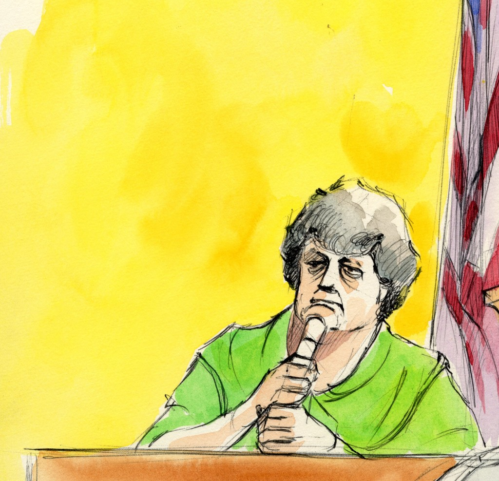 Courtroom sketch of John Wanye Gacy's mother
