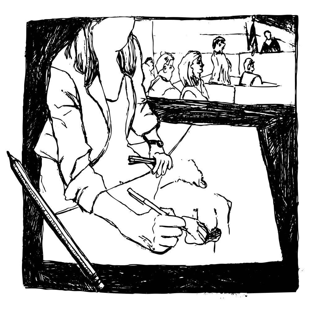 An illustration of a sketch artist working during a trial.