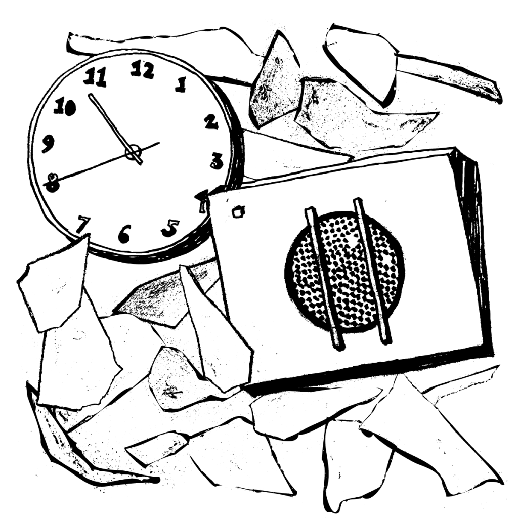 An illustration of school loudspeaker and a clock nestled amongst various pieces of paper.