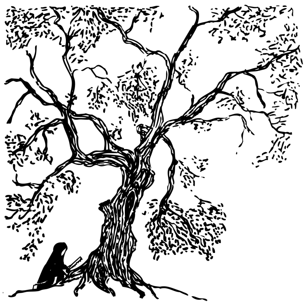 An illustration of a cloaked person with a handsaw sabotaging the Treaty Oak.