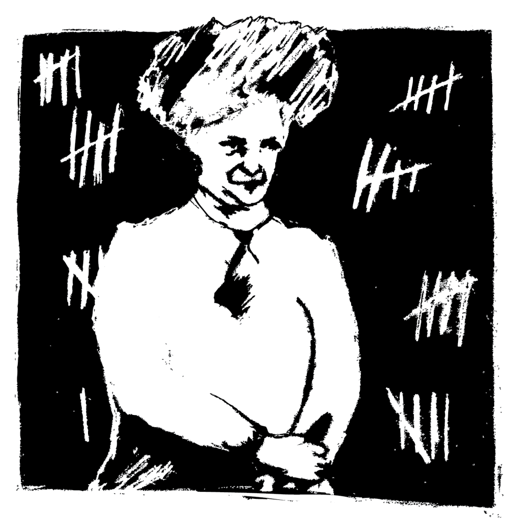An illustration of a woman from the 1800s with tally marks around her.
