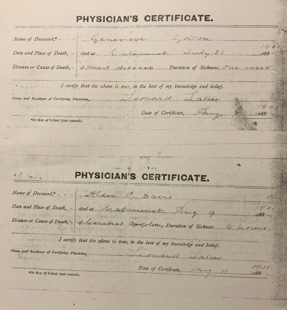 Death certificates for Alden Davis and his daughter Genevieve, from 1901.