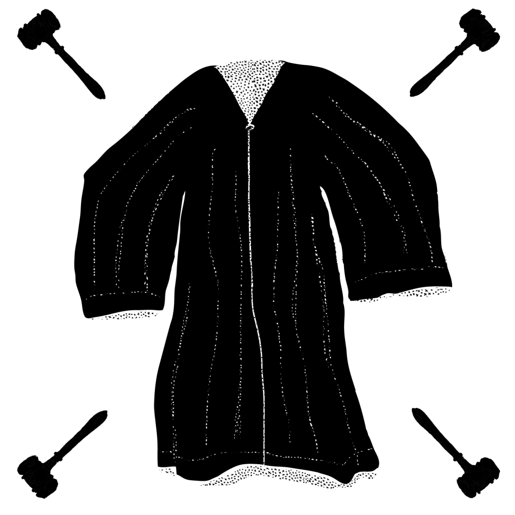 An illustration of a judge's robe with small gavels at all four corners of the image.