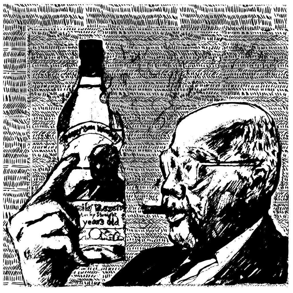 An illustration of a man smoking a cigar, staring at a bottle of Pappy Van Winkle Kentucky bourbon.