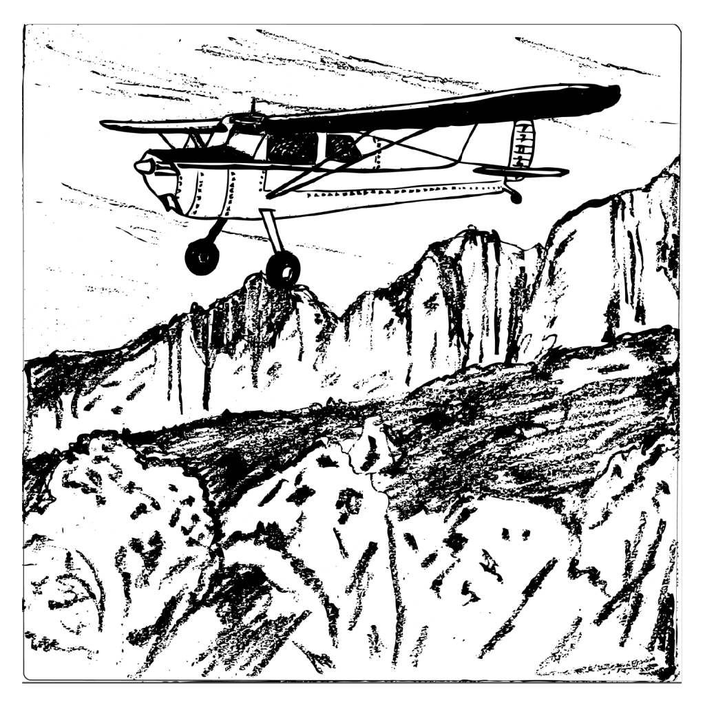 An illustration of a small, single engine plane flying over some crags.