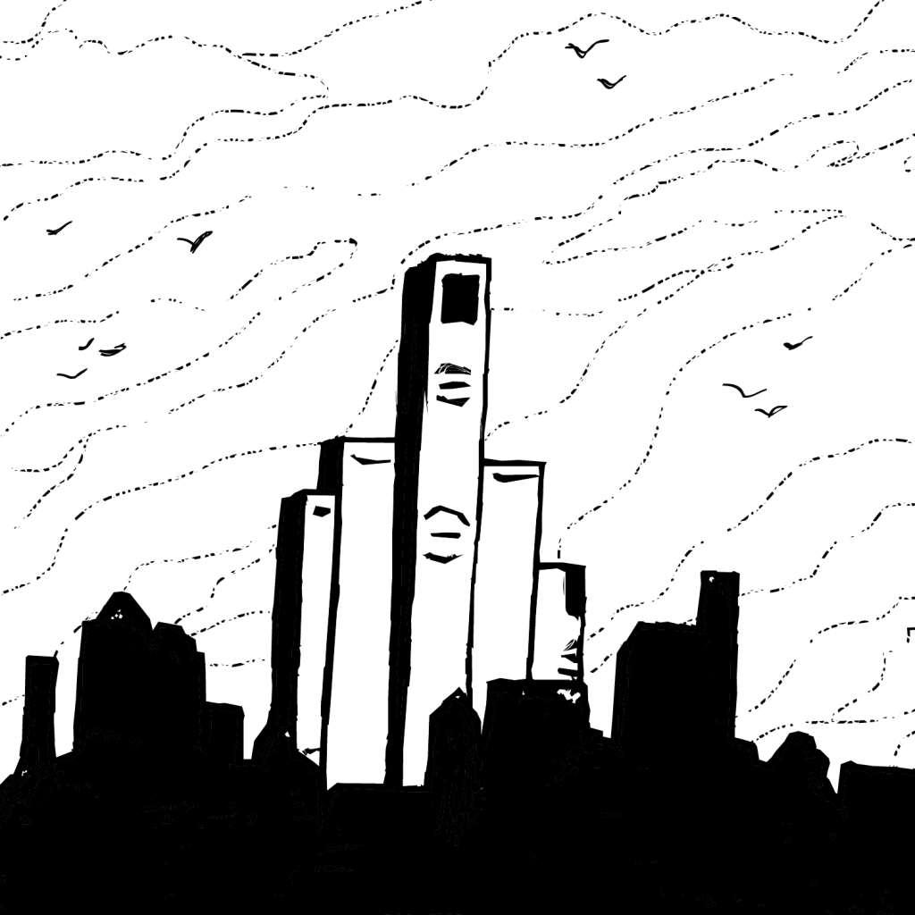 An illustration of a city skyline stylized to look like a hand flipping the middle finger.