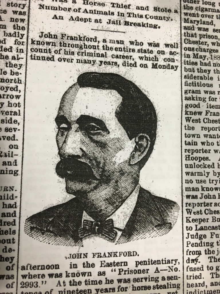 A newspaper clipping of John Frankford's obituary.
