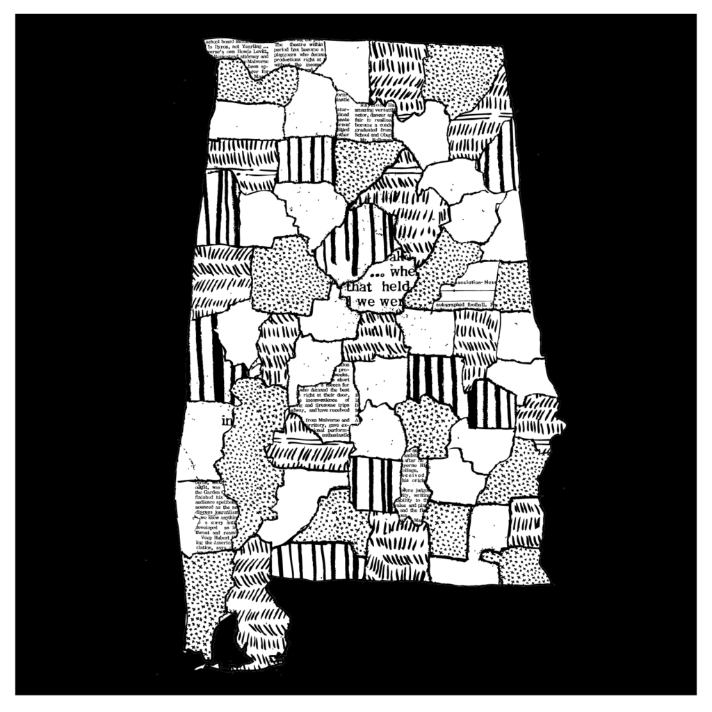 A collage-style illustration of the state of Alabama.
