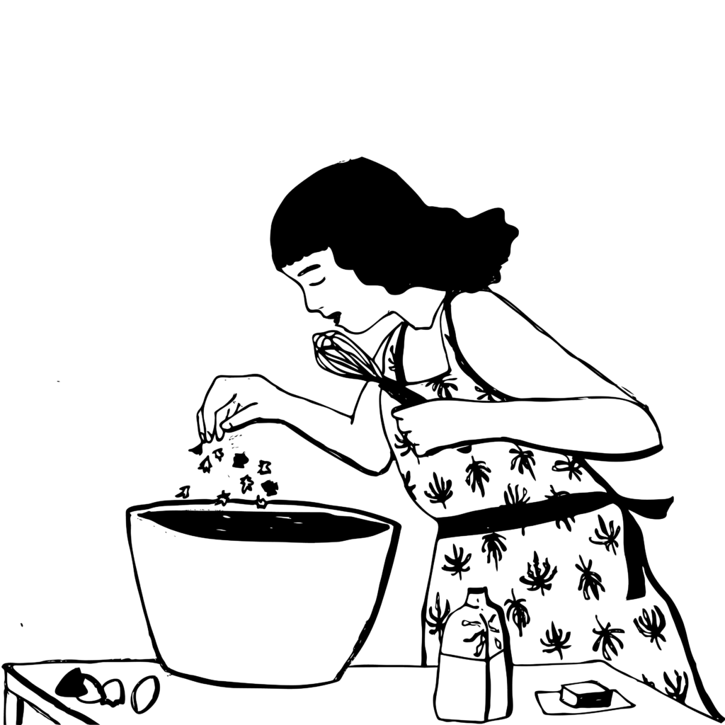 An illustration of a woman wearing an apron covered in a cannabis leaf print, sprinkling marijuana into a bowl of brownie batter.