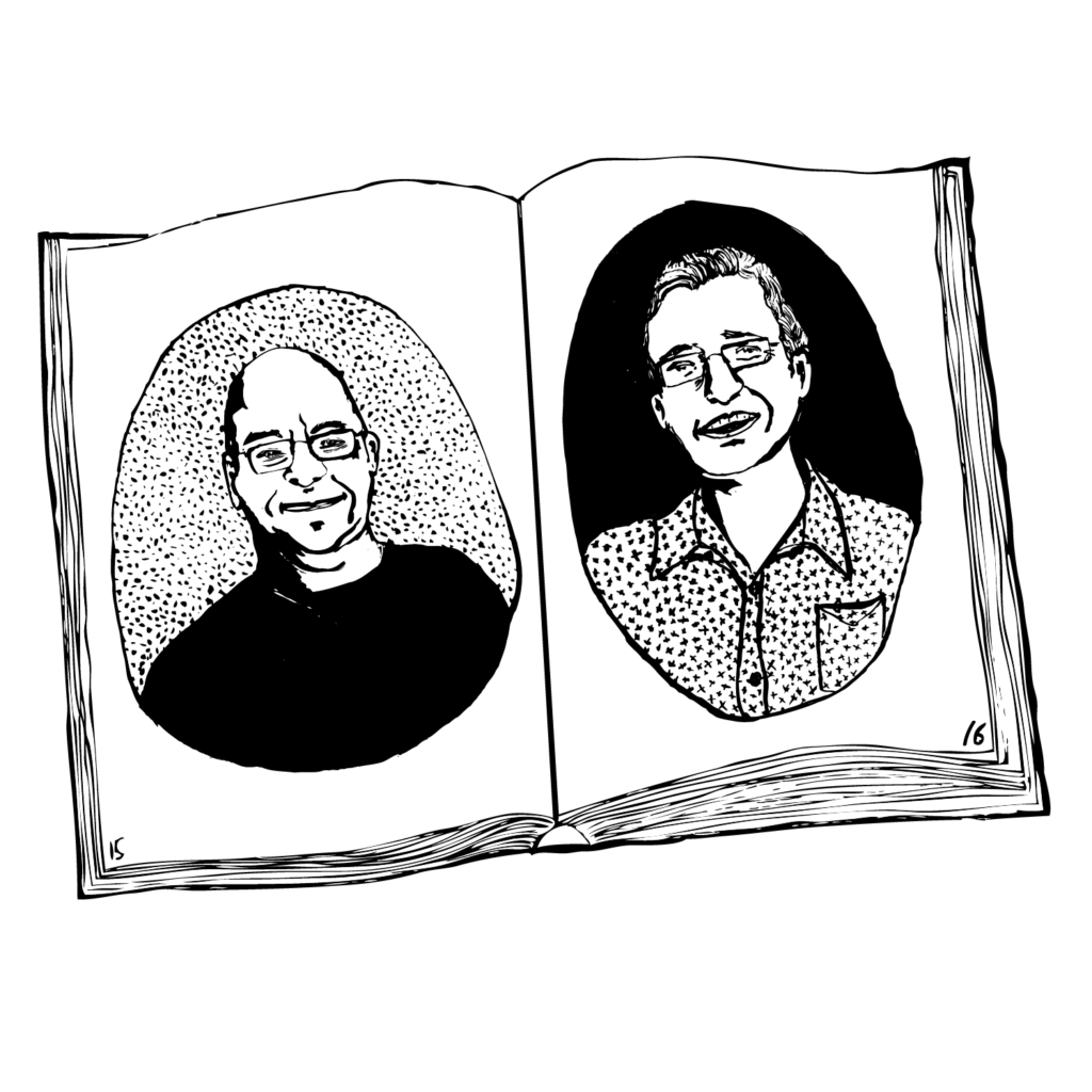 An illustration of an open book, with a portrait of Mark Stevens on one page and Robin Woods on the other.