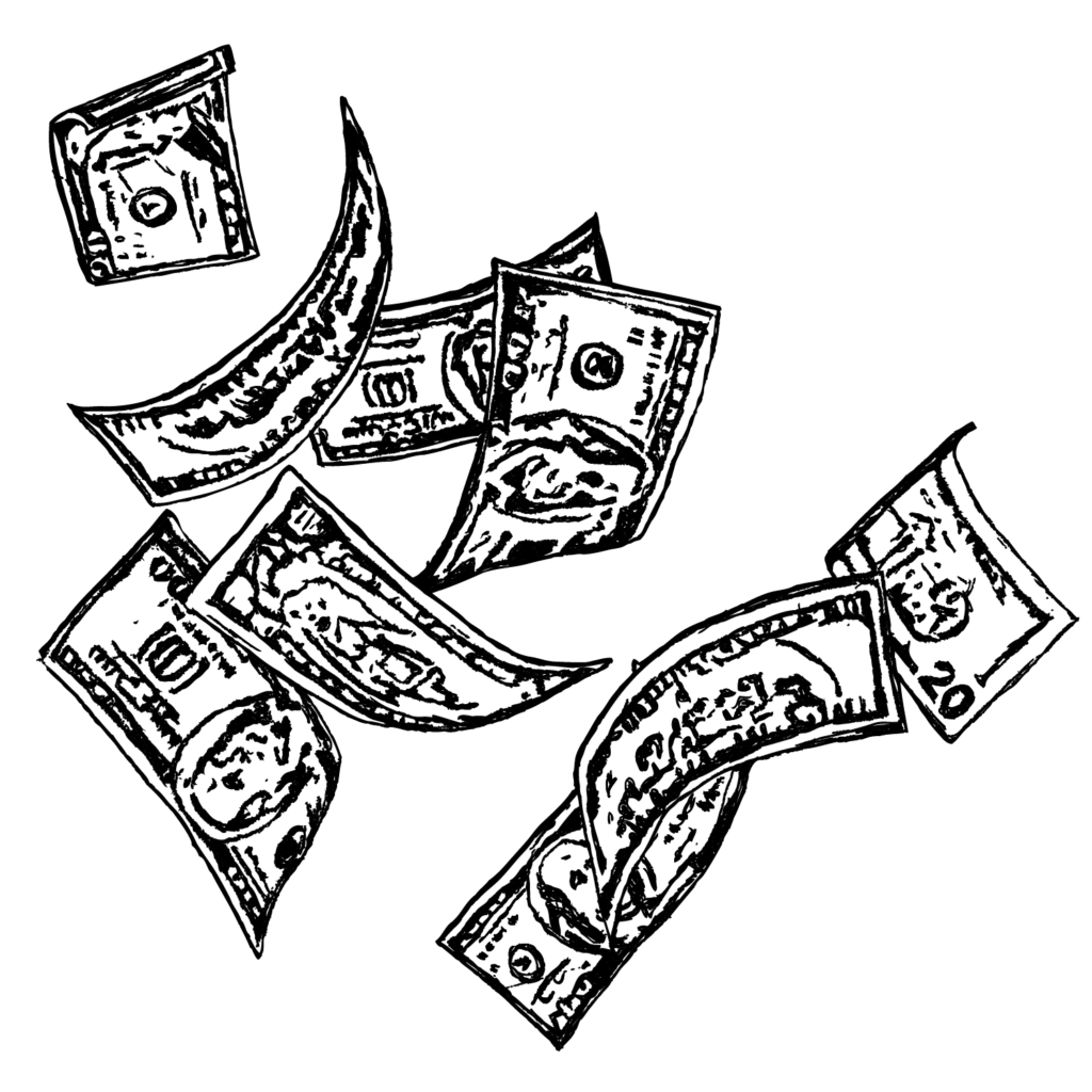 An illustration of money floating in the wind.