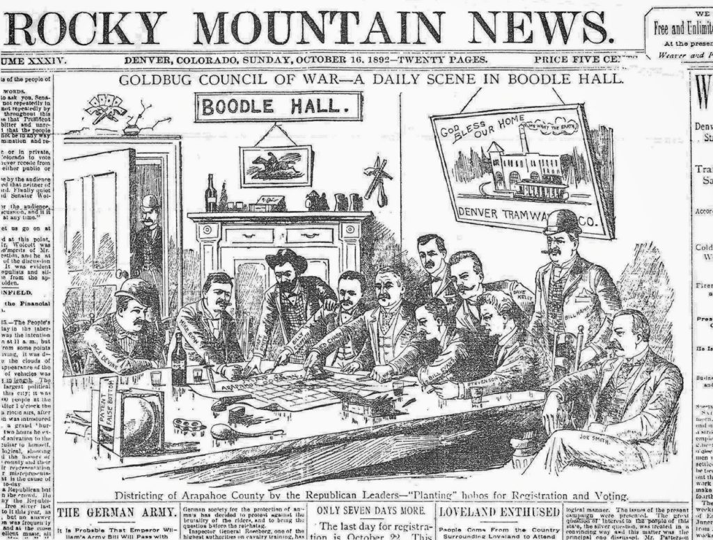 An 1892 Political cartoon featuring Soapy Smith. He's the only one with a beard.