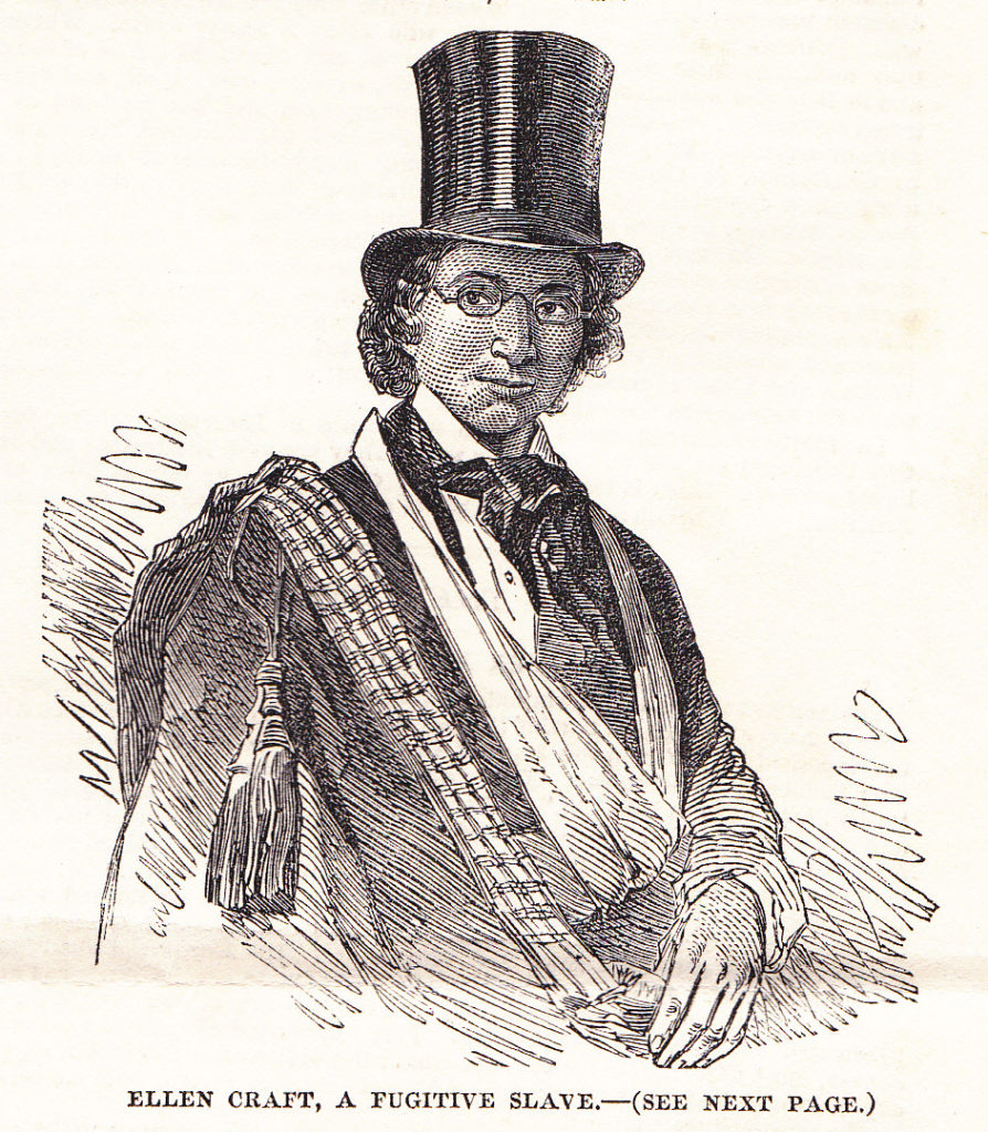 "Illustration of Ellen Craft in her disguise, from the ""Illustrated London News"" in 1851"