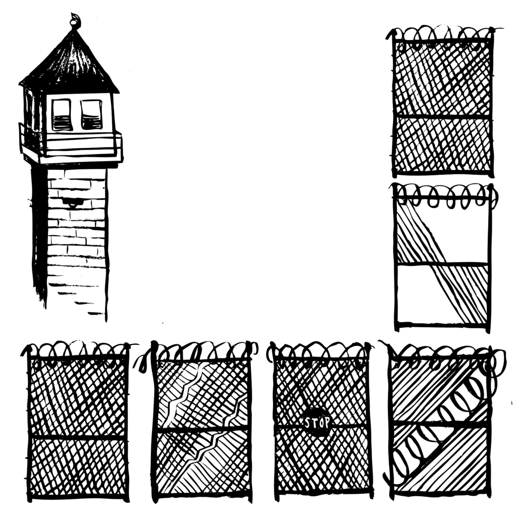 An illustration of a prison guard tower and several sections of prison fence with barbed wire.