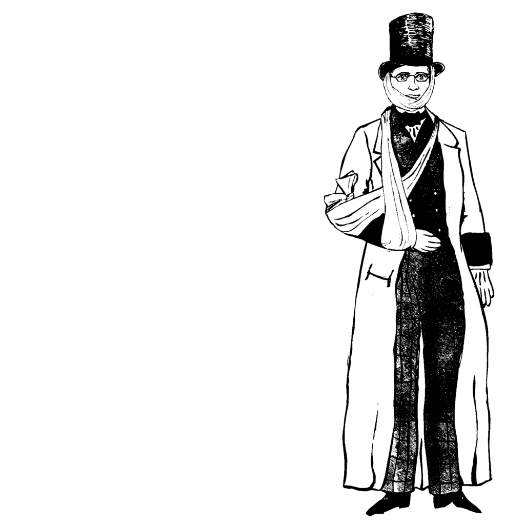An illustration of a man wearing a top hat, bandages, and a long jacket.