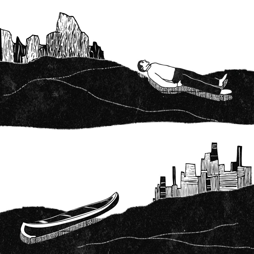 A two-frame illustration of a man in a shallow grave, and a canoe in water near a cityscape.
