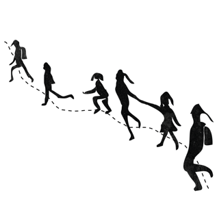 An illustration of a small parade of children walking along a dotted-line border.