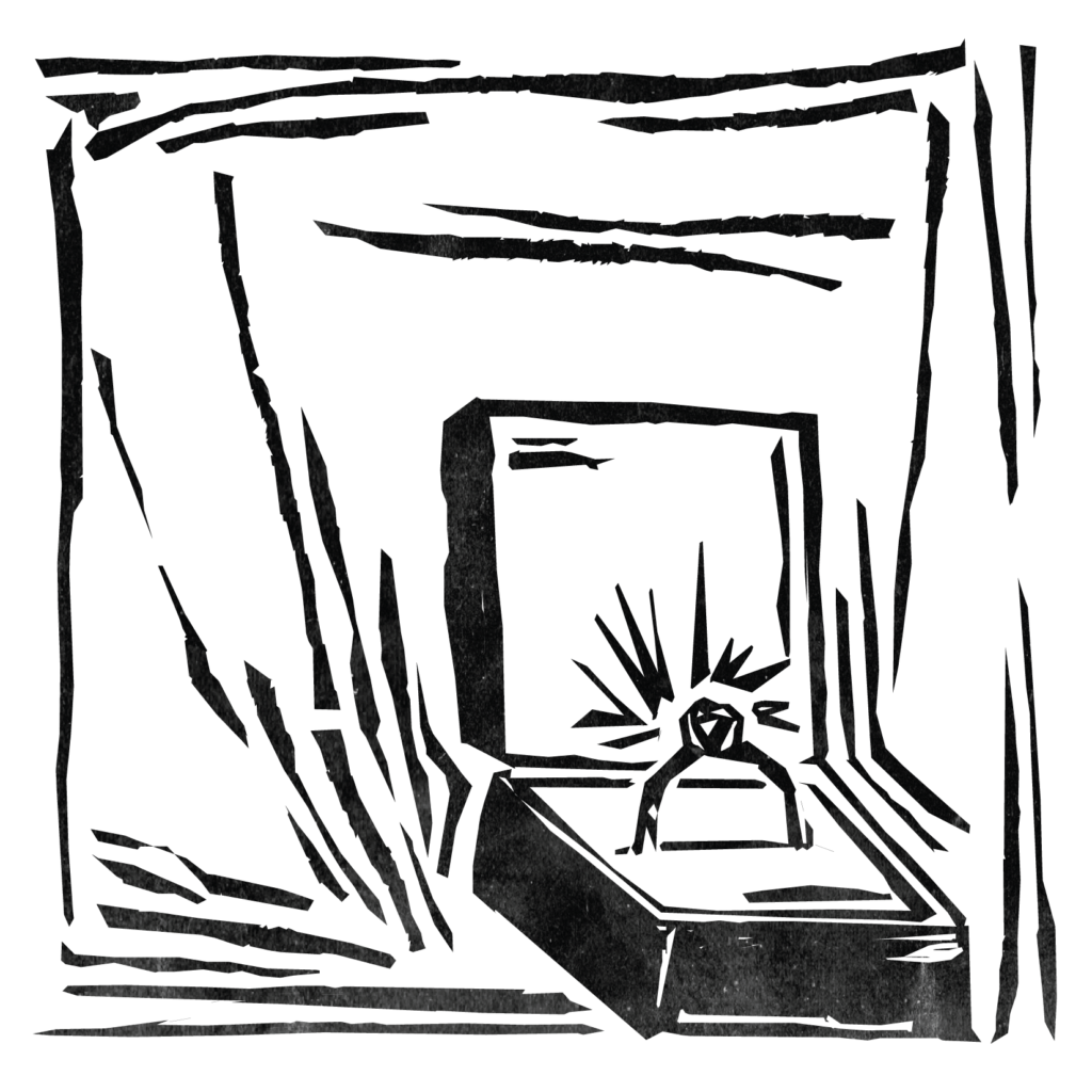 An illustration of a diamond ring in a ring box.