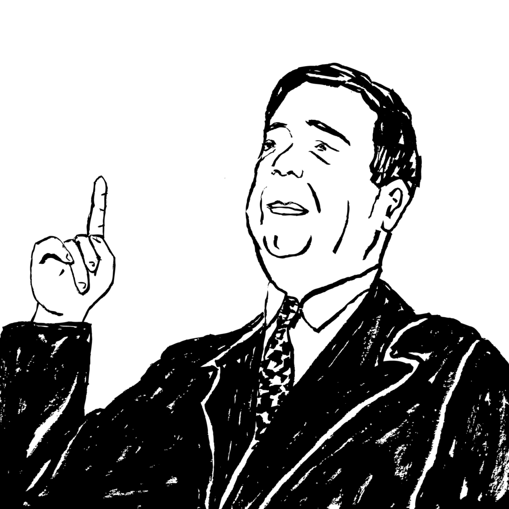 An illustration of Huey P. Long in a suit, pointing upward.