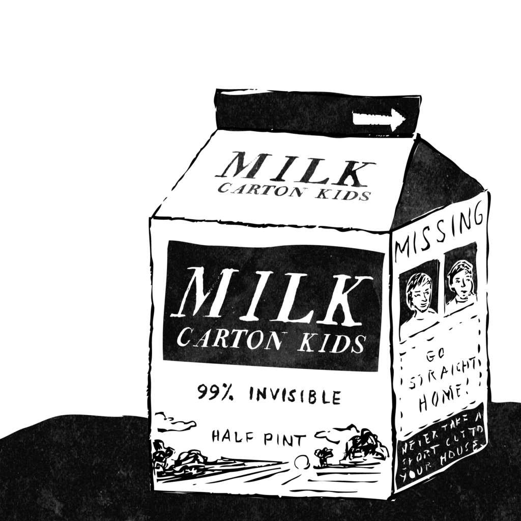 An illustration of a milk carton with a Missing Child notice on it.