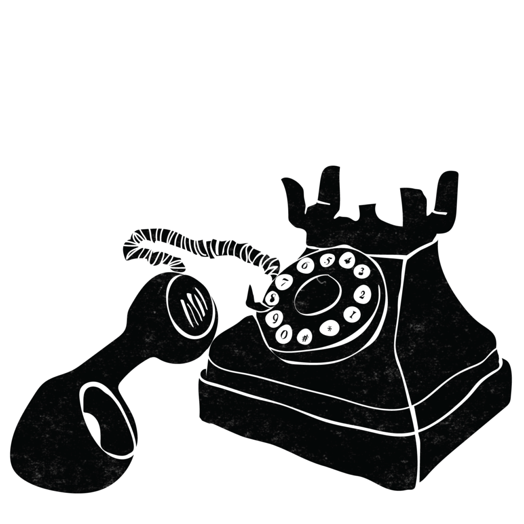 An illustration of a rotary phone with the receiver off the base.