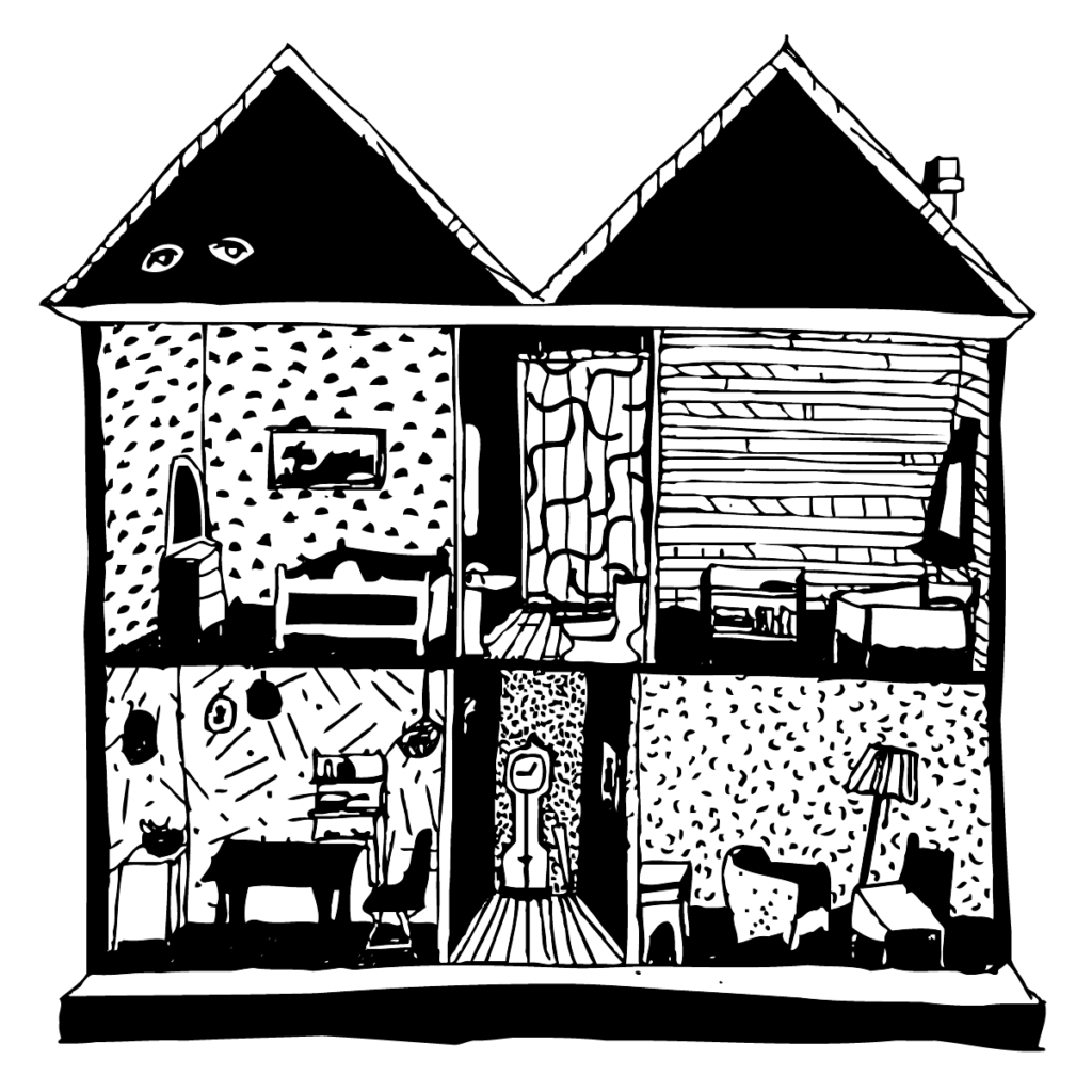 An illustration of a cross-section of a house, with eyes glowing in the attic.