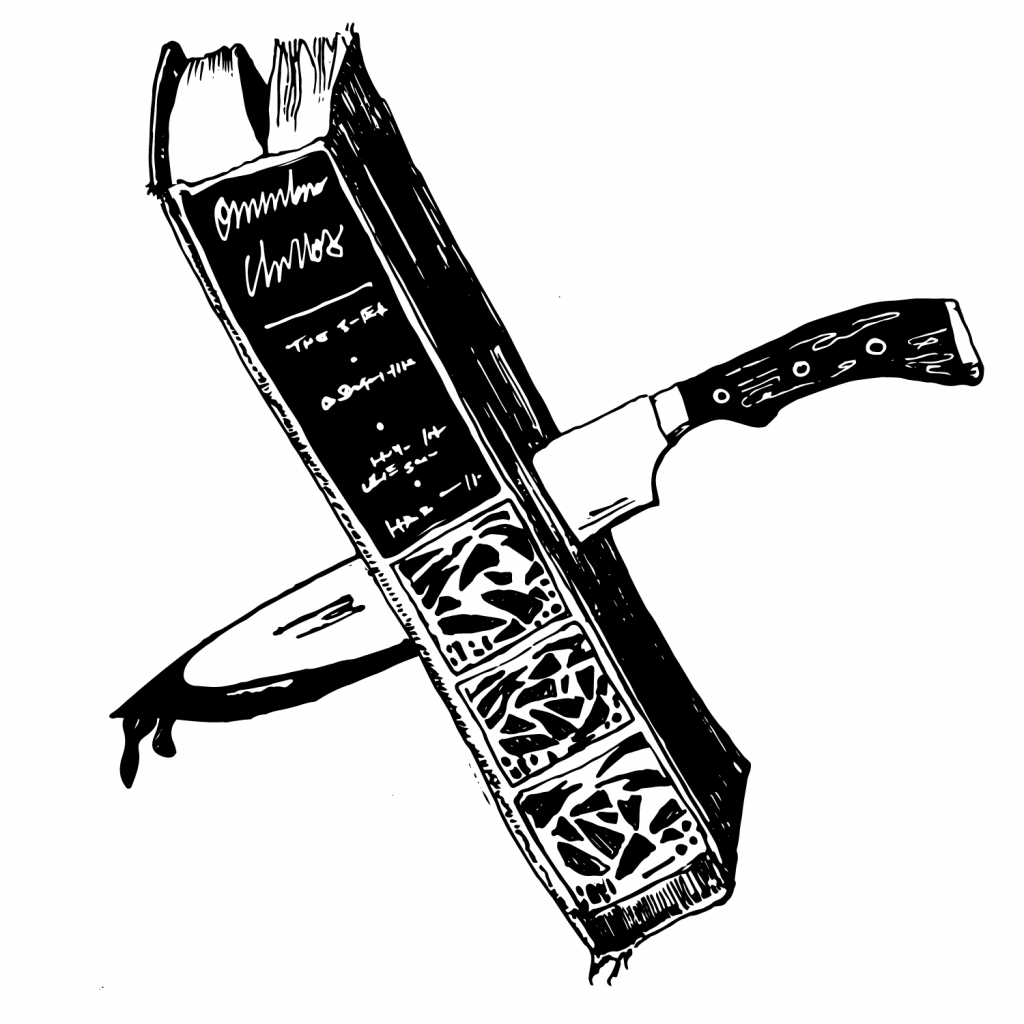 An illustration of a beautifully bound book with a knife stabbed through it, dripping with ink.