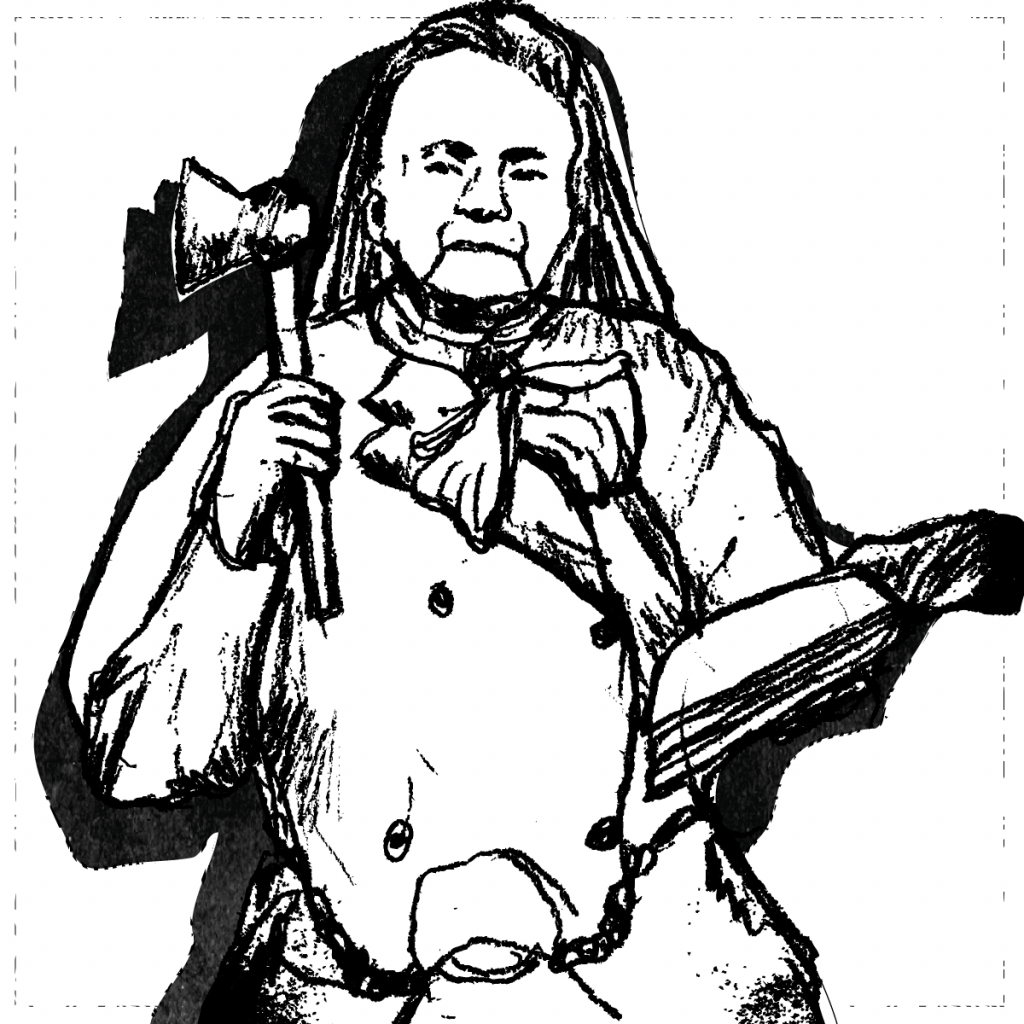 An illustration of Carry Nation, with a hatchet in one arm and an open book in the other.