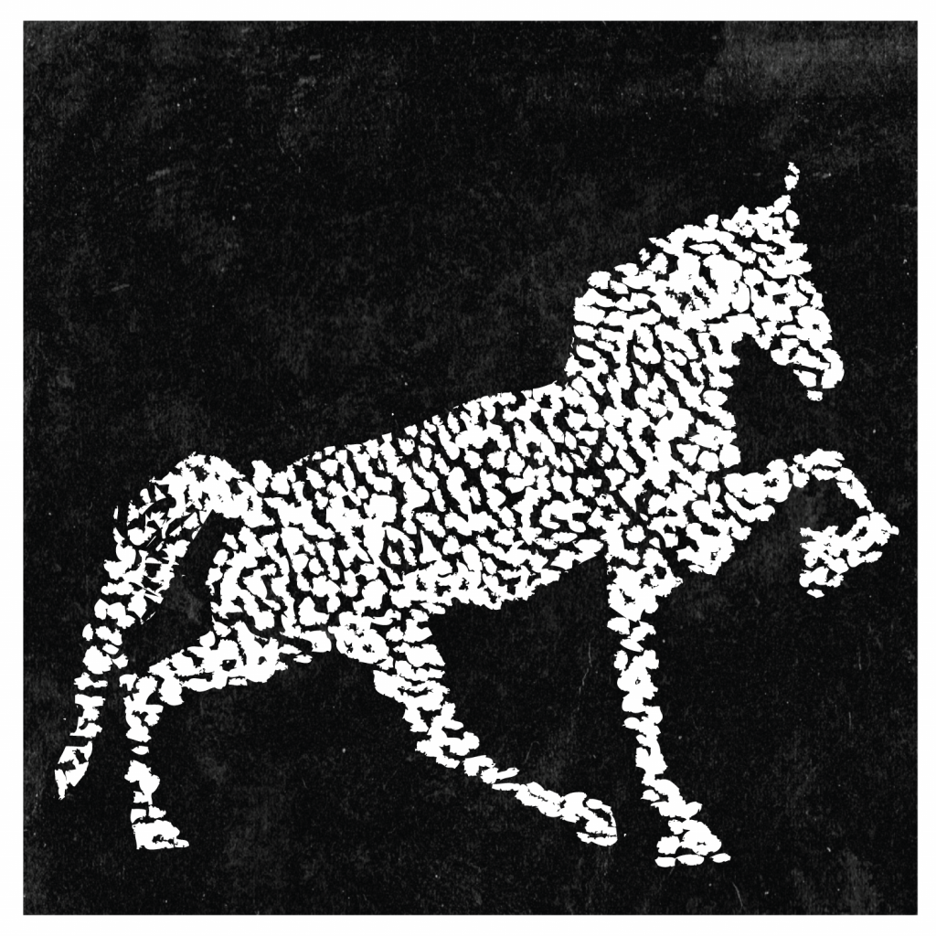 An illustration of a horse with one front leg raised.
