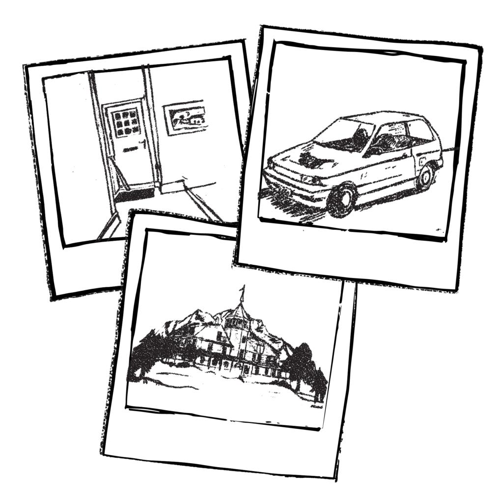 An illustration of three different polaroids.