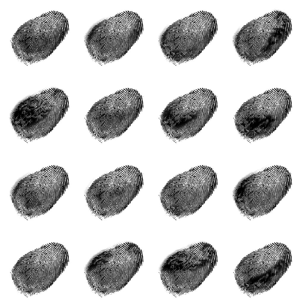 An illustration of 16 different fingerprints in black ink.