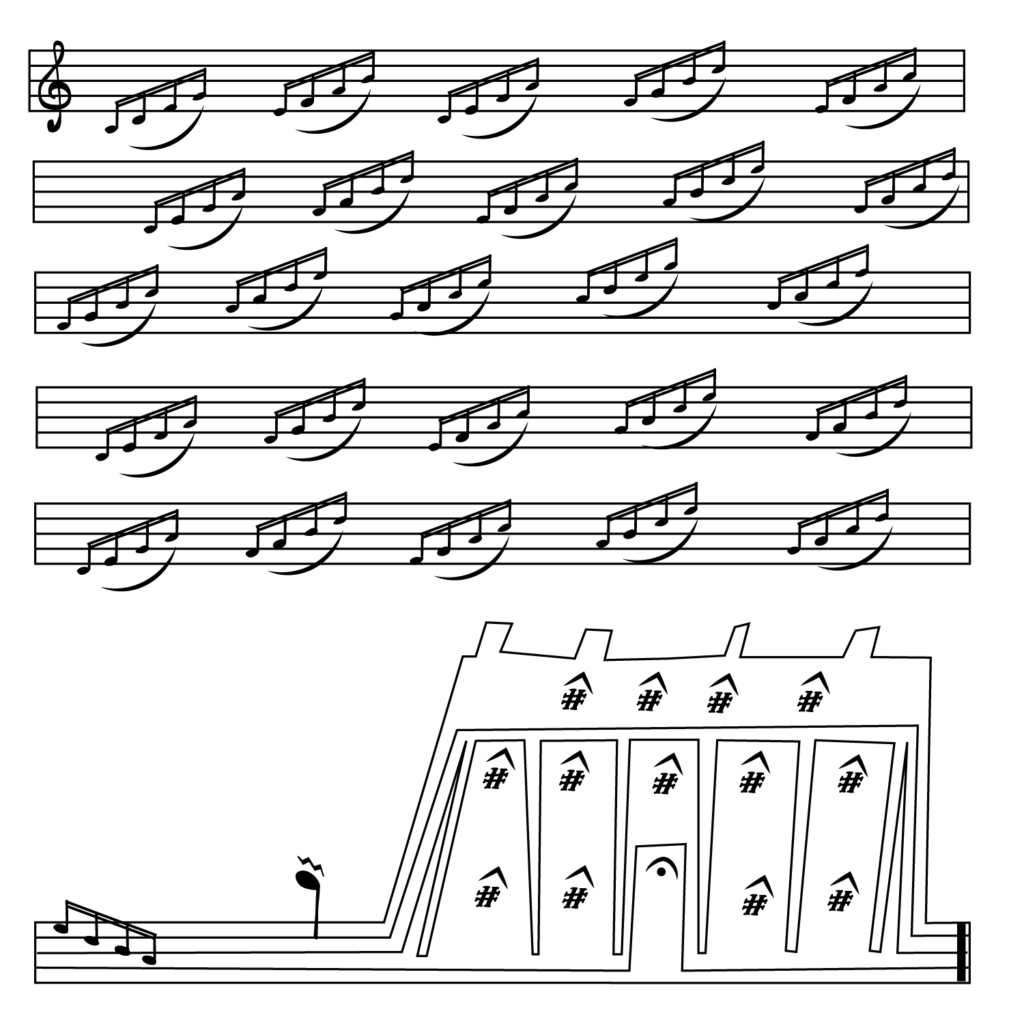 An illustration of sheet music, the bottom bar turning into a building.