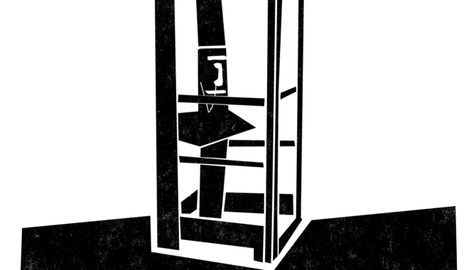 An illustration of a phone booth with a payphone in it.